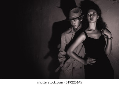 Noir man and girl