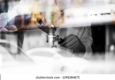 Noise and blurred Technic image of barista preparing to brew coffee