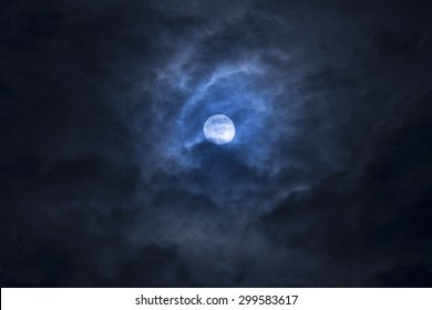 noise and gain dramatic soft moon on cloudy day. fancy dream feel