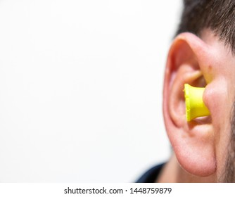 Noise reduction ear plug close up in ear