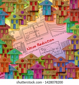 Noise reduction solutions in residential district with formulas about noise reduction in buildings - concept image.