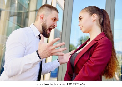Noisy quarrel with the head of the office employee. A man screams at a woman. Director's Cry.