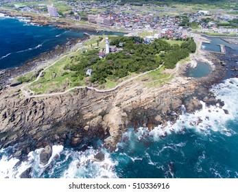 Nojimasaki lighthouse aerial view