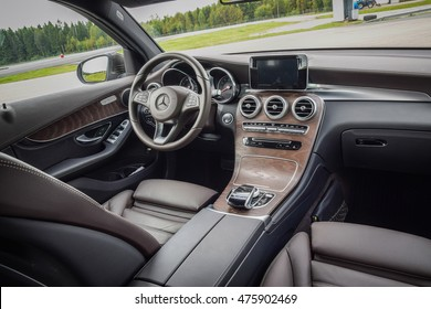 NOKIA, FINLAND - AUGUST 25, 2016: Mercedes-Benz GLC 350 e Plug-In Hybrid at the test-drive. Photo of the interior. Chocolate-brown color leather seats. Brown open-pore ash wood trim.