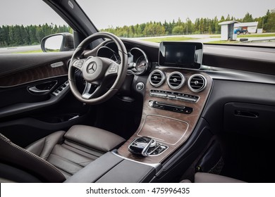 NOKIA, FINLAND - AUGUST 25, 2016: Mercedes-Benz GLC 350 e Plug-In Hybrid at the test-drive. Photo of the interior. ?hocolate-brown color leather seats. Brown open-pore ash wood trim.