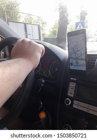 An Nokia phone with Waze navigation app inside the car in traffic, in Bucharest, Romania, 2019