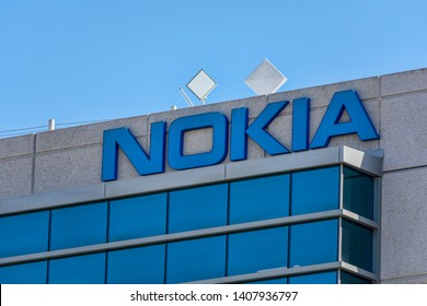 Nokia sign on corporate campus in Silicon Valley. Nokia is Finnish multinational telecommunications, information technology, consumer electronics company - Sunnyvale, USA - May 25, 2019