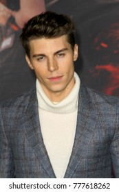 "Nolan Gerard Funk attends the Netflix ""Bright"" premiere on Dec. 13, 2017 at the Regency Village Theatre in Los Angeles, CA."