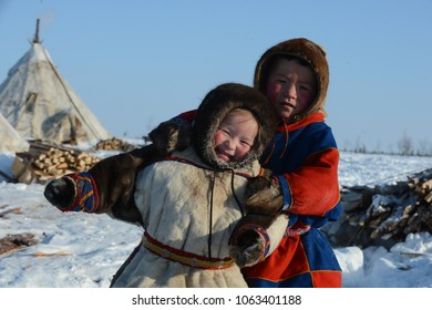 """Nomad camp of reindeer herders. Arctic, Yamal Nenets Autonomous District. Russia, 05.20.2013. The aborigine of the Russian Arctic with its deer. Preparing for the spring holiday of the Russian North """""""