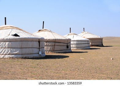 Nomad gers, or yurts, in the Yol Valley, Gobi Desert steppes, Mongolia