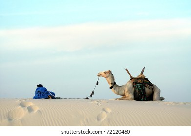 A nomad and his camel resting on top of a sand dune