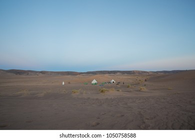 Nomad style camping in tens. Sahara desert. Morocco.