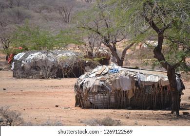 Nomadic pastoralists settlement buildings in the northern Kenya