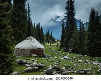 Nomadic yurt in Yeti Oguz, Kyrgyzstan