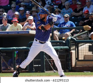 Nomar Mazara Right fielder for the Texas Rangers at Surprise Stadium in Surprise Arizona USA March 24,2017.