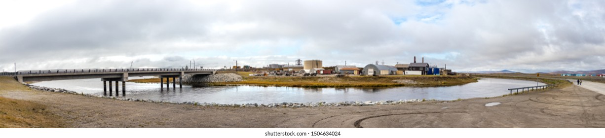 Nome, Alaska - September 10th, 2019: Panorama of a small bridge on Jafet Dr connecting the Port Rd and Seppala Dr in Nome, Alaska, USA.
