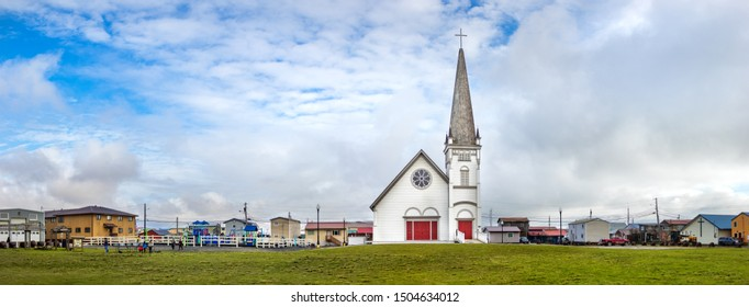 Nome, Alaska, USA - September 10th, 2019: Panoramic view of the Anvil City Square  on 407 Bering St and the Old St. Joseph's Hall, the old Roman Catholic Church.