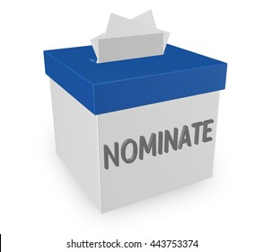 Nominate word on a suggestion box to illustrate submitting an application or candidate for consideration.