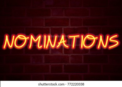Nominations neon sign on brick wall background. Fluorescent Neon tube Sign on brickwork Business concept for Election Nominate Nomination 3D rendered