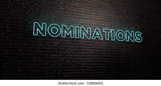 NOMINATIONS -Realistic Neon Sign on Brick Wall background - 3D rendered royalty free stock image. Can be used for online banner ads and direct mailers.