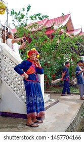 Non Hom Temple Sakon Nakhon 14-04-2019 Is the day of the elderly and Songkran festival The elderly will dress in Phu Tai as a regular tribe to join the parade and allow their children to water for ble