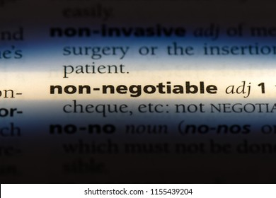 non negotiable word in a dictionary. non negotiable concept.