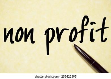 non profit text write on paper