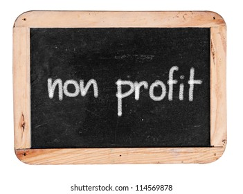 non profit - white chalk handwriting on isolated vintage slate blackboard