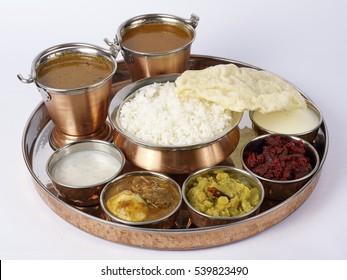 Non Veg thali meals on white background
