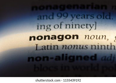 nonagon word in a dictionary. nonagon concept.