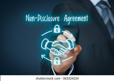 Non-Disclosure Agreement (NDA) business concept. Businessman draw scheme representing Nondisclosure Agreement.