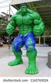 NONG BUA LAM PHO, THAILAND – AUGUST 26, 2018:  Superhero model statue,  be the incredible HULK,  stand loftily at PC Cowboy Town in NONG BUA LAM PHU province THAILAND.