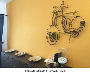 NONG KHAEM, BANGKOK, PENANG, THAILAND - May 16, 2015: Wire steel rod wire art on the wall. It is a vespa motercycle scooter interior design on the wall.