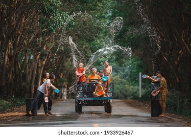 NONG KHAI, THAILAND - April 15: Songkran Festival in local of Thailand on April 15, 2018. One of the most popular water fight places during Songkran in Thailand.