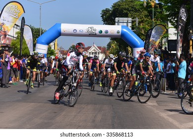 """Nong KHAI THAILAND October 30,2015:People ride bicycles in """"Ride to Khong's Legendary"""", the road bicycle race through four provinces along the Mekong River, from Oct 29 to Nov 1 in Nong Khai,Thailand"""