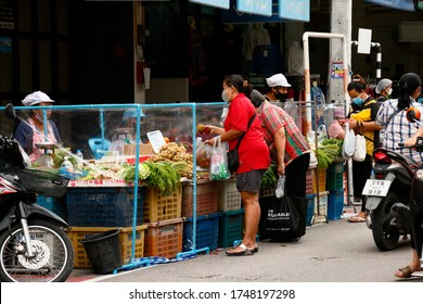 Nong Mon Market, Chonburi,Thailand-June 3 ,2020 : Picture of Nong Mon market near afternoon showing plastic barrier in each shop for making physical distancing in  Covid-19 pandemic in Thailand.