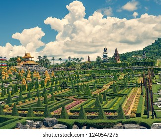 nong nooch panorama, the spirit house and temples (cross process)