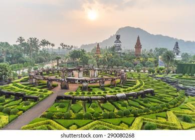 Nong Nooch Tropical Botanical Gardenat sunrise , Pattaya, Thailand