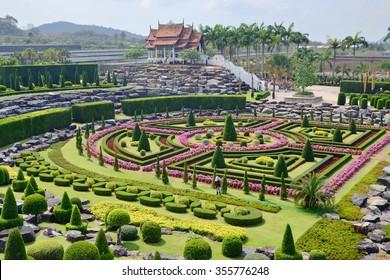 Nong Nooch Tropical Garden in Pattaya, Thailand, formal garden, asian pagoda, asia