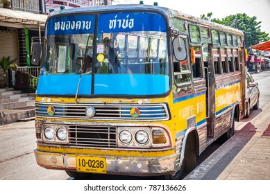 NONGKHAI, THAILAND - 26 OCTOBER 2015 : yellow vintage bus from countryside of thailand
