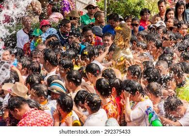 NONGKHAI THAILAND APRIL 13: Songkran Festival, The people pour water and joined parade of the statue of Luang Pho Phra Sai with respect to faith on April 13, 2011 in Nongkhai Thailand.