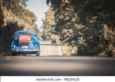 "Nongkhai Thailand - Jan  2 2018:Auto Volkswagen-1300 ""Beetle"" travel on the road"