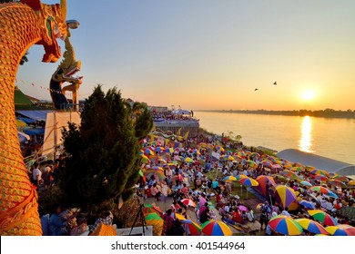 NONGKHAI, THAILAND - OCTOBER 26,2015 : The people waiting Naga fireballs(Legend of Naga, believe and 	 faithful) in end of Buddhist Lent Festival. Nongkhai Province, NorthEast of Thailand.