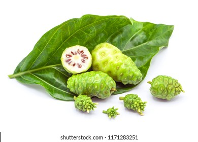 noni fruit or Morinda Citrifolia and noni flower isolated on white background.