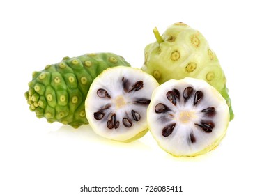 Noni fruit on white background (noni food)