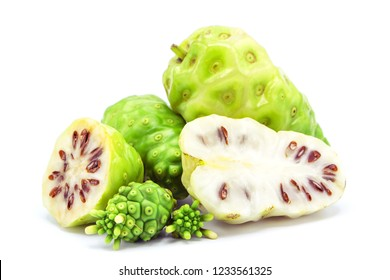 noni or morinda citrifolia with noni flower  isolated on white background.