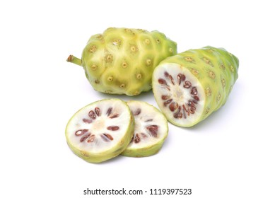 Noni or Morinda Citrifolia fruits isolated on white background (Rubiaceae Noni, great morinda, indian mulberry, beach mulberry, cheese fruit, Gentianales)