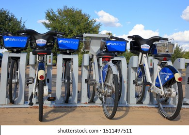 A nonprofit San Antonio Bike Share SWell Cycle dock station along the Mission, or Missions Trail - San Antonio, Texas, USA - September 22, 2019