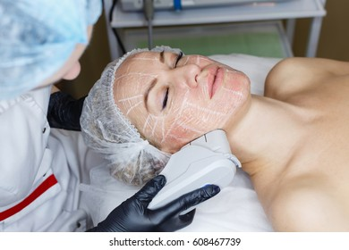 Non-surgical face lifting. SMAS lifting ultrasonic. Facelift. The process of rejuvenation. Spa treatment. Hardware cosmetology.