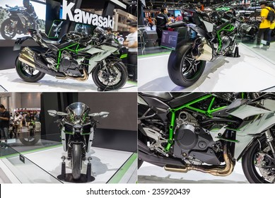 NONTABURI, THAILAND - 2 DEC : Kawasaki Ninja H2,Built Beyond Belief, showed in 31th Thailand International Motor Expo on 2 December 2014
